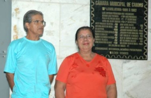 A Eva e o Valoir Silva, que foram os primeiros alunos da Escola, também estiveram na homenagem da Câmara